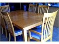 7 pieces natural wood dining set Light brown color Size 42x72 Good condition Local pick up onl