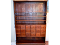 Original Antique Mahogany Chest with cupboard 18 drawer Apothecary Cabinet Display Circa mid 1800s
