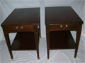 End Tables Mersman 25-22 Mid Century Modern with drawer and under shelf They have brass caster whee