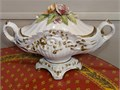 Italian made porcelain center piece with beautiful flowers on the lid This is a irreplaceable cente