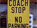Coach Stop Sign - Double Sided In Porcelain - Great For Game Room Or Garage - Heavy Steel Constructi
