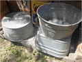 Free vintage antique washtubs   Galvanized  one is square the other two round One round has a hol