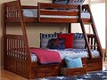 Solid wood sturdy twin size over full size bunk bed with three drawer under chest or twin trundle