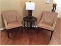 Model Home Furniture - 2 light brown armless accent chairs by Coaster Furniture - Espresso Legs