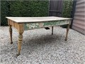 Wooden table desk in okay condition has been partially refurbished but still needs some additiona