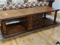 This is a well-crafted center coffee table Look at the details on this solid wood living room cente