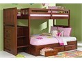 New solid wood twin size over full size stair stepper bunk bed with built in 4 drawer chest and 3 dr