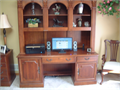 hooker desk w hutch solid wood lighted shelves extra storage great shape 90000 call 815-382-6677