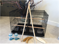 Includes the breeding cage 4 wooden perches 4 cups for food 2 water tubes 2 extra long replaceme