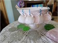 Pink Milk Glass Punch Bowl 12 matching cups and 1 White Plastic Ladle  Perfect condition  Looking