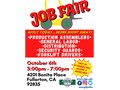 Join us next Tuesday October 6th for TWO JOB FAIRS at our Fullerton locationOur address is 4201