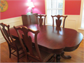 Quality Chippendale style DR table 4 chairs 2 pedestals solid wood medstain McCormick 60000