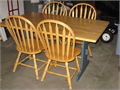This is a nice solid wood table and chair set Used but in very nice conditionTable top and chair