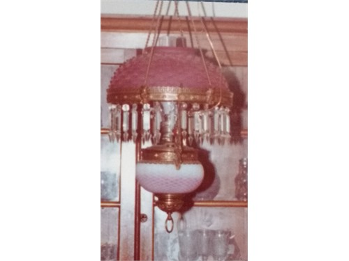 Hanging Cranberry Lamp