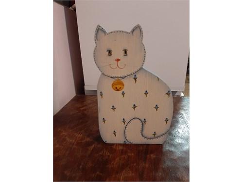 White Wooden Cat Statue