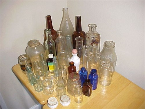 30+ VINTAGE GLASS BOTTLES