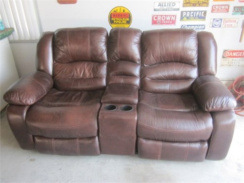 Leather dual  recliner