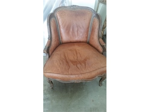 Carved Chair Leather 90's