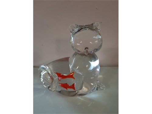 Glass Kitty Cat w/ Goldfi