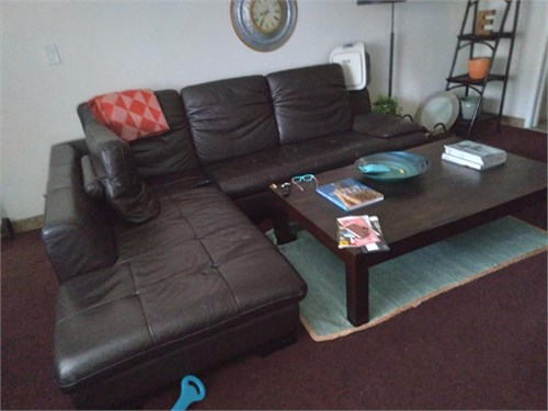 Leather Sectional Brown