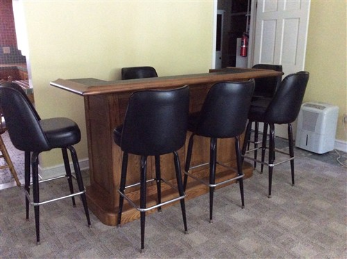 Oak bar with stools