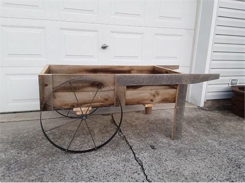 wooden cart w/steel whls.