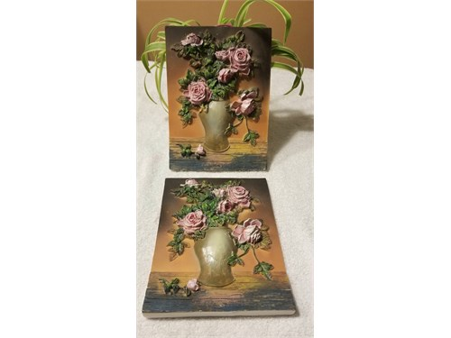 (2)Ceramic Rose Frames 3D
