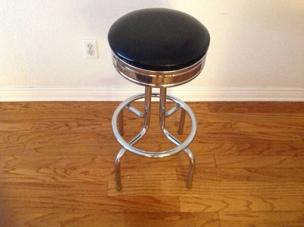 Swiveling Bar Stools 30 inches tallBar Stool Crome and black top with footrest