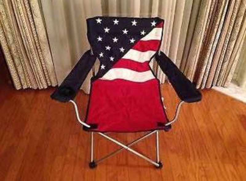 FOLDING CHAIR Camping Beach Outdoor Camping American Flag design with separate foot rest